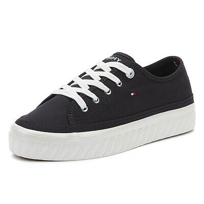 Tommy Hilfiger Flatform Womens Midnight Cotton Trainers Ladies Casual Shoes