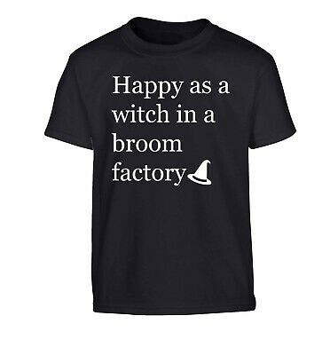 Happy as a witch, kid's t-shirt Halloween trick or treat broomstick spell 5325