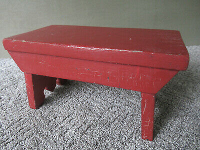 """Antique Foot Stool Small Cricket, Vintage Primitive Red Paint Wood 12"""" Footstool"""