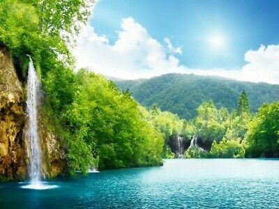 Nature River Waterfall Forest Bkue sky Nipples Summer Wall Print POSTER DE