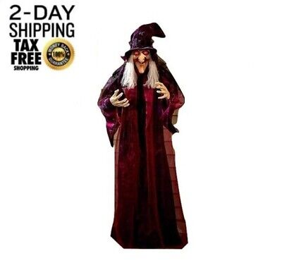 """Life Size Scary Talking Witch Haunted House Poseable Hanging Animated Decor 71"""""""