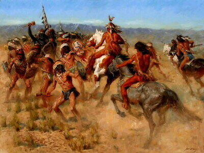 Native American Tribes Battle Warriors Indians Print POSTER UK