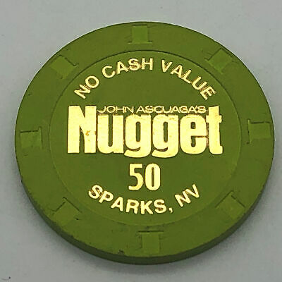 John Ascuaga's Nugget Sparks NV 50 NCS Casino Chip No Cash Value Green
