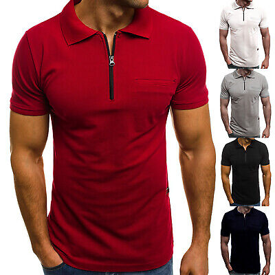 Mens Short Sleeve Shirts Smart Casual Slim Fit Shirt Plain Summer Polo T-shirt