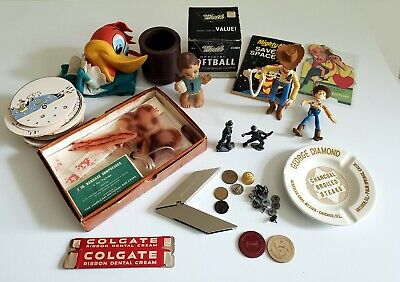 Vintage Junk Drawer Lot Poker Chips Mighty Mouse Woody Lead Soldiers Softball