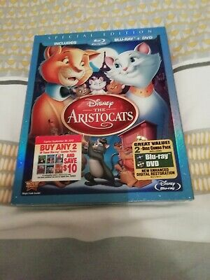 disney the aristocats blu ray + dvd us import with slipcover brand new & sealed