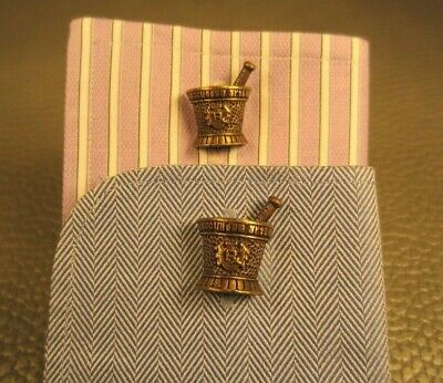 Vintage Pharmacy Mortar and Pestle Yellow Gold Plated Cuff Links