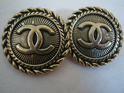 CHANEL  2 CC  LOGO brass gold  20mm BUTTONS THIS IS FOR TWO