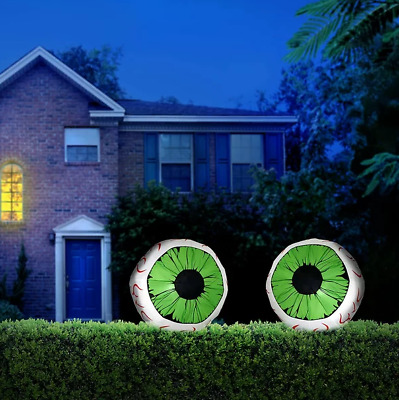 2 Piece Huge Halloween Eyes Outdoor Decor Inflatable Set Airblown Yard Lighted