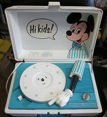 Vintage 70's Mickey Mouse General Electric Record Player RP3122B