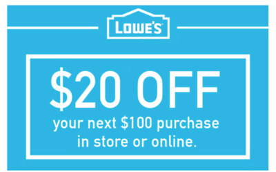 $20 OFF $100 Lowes Coupon - InStore and Online -Fast-Delivery--exp 9/30