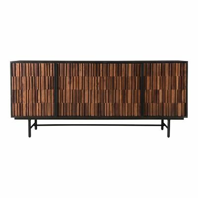 """68.5"""" W Wallace Sideboard Solid Exotic Hardwoods Modern Contemporary Iron Base"""