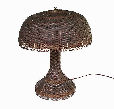 Antique Natural Wicker Table Lamp