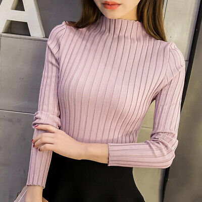 Korean Sweater Autumn Winter Women Turtleneck Slim Knitted Solid Blouse TYF