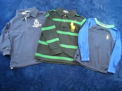 Lot Of 3 Polo Ralph Lauren Boys Long Sleeve Shirts 2 Rugby 1 Performance Size 2T