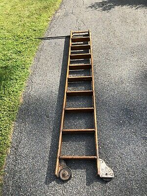Oak Wood PUTNAM Rolling Library Ladder With Rod/pole