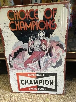 Champion Repro Dragster Metal Sign