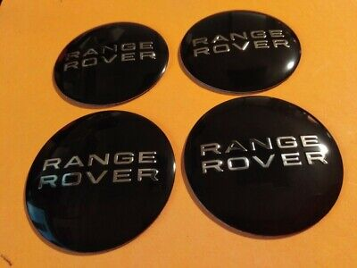 4 x 56mm Range Rover Aluminium Centre Cap Overlays/Stickers  - BLACK