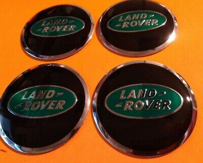 4 x 56mm Land Rover Aluminium Centre Cap Overlays/Stickers  - BLACK GREEN