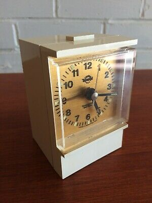 Vintage Smiths Timecal Transistor Battery Alarm Clock White Plastic