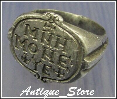 ** CROSS - MNH MONE YE **Ancient Silver Byzantine Inscription Ring **AMAZING **