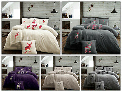 Teddy Bear Fleece Stag Embroided Duvet Cover Set Thermal Warm Soft Bedding