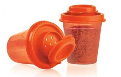 Tupperware Salt and Pepper Shakers Mini Midgets Red, Personal Size New