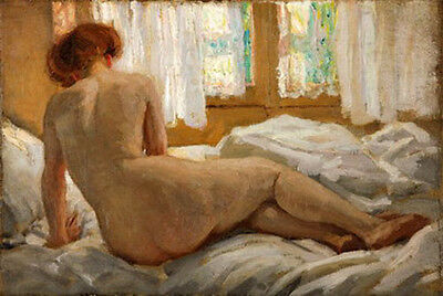 Wonderful huge oil painting nude young woman on the bed no framed canvas