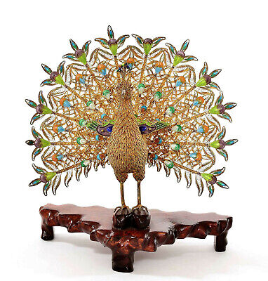 Vintage Chinese Gilt Sterling Silver Enamel Filigree Peacock Bird Wood Stand
