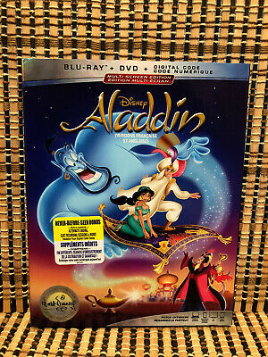 Aladdin (2-Disc Blu-ray/DVD,2019)+Slipcover.Disney Animated Classic.Robin Willia