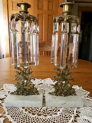 Antique Pair Candelabra Girandole Candle Holder Birds in Tree Cut Glass Spears