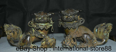 "10"" Old Chinese Purple Bronze Feng Shui Foo Dog Lion Ball Lucky Sculpture Pair"