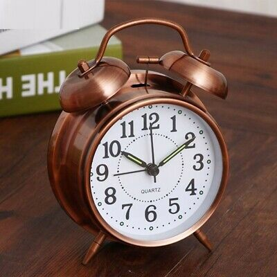 Retro Alarm Clock Creative Twin Bell Backlight Desk Bedroom Decoration Accessory