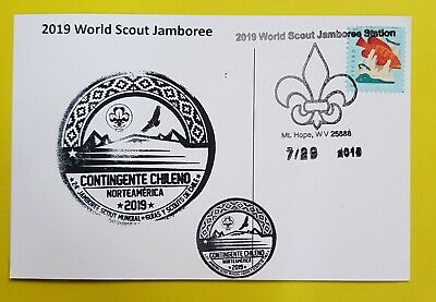24th world scout jamboree 2019  Postmark on USPS official postcard and CHILE