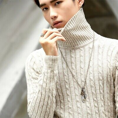 MEN KNITTED BOTTOM Sweater Stand Collar Tops Cos Anime Watch