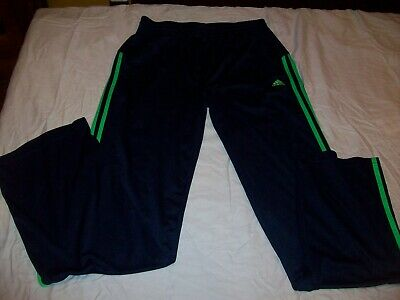 Adidas Navy/Green Stripe Athletic Pants Gym Workout Tennis Youth Xl 18