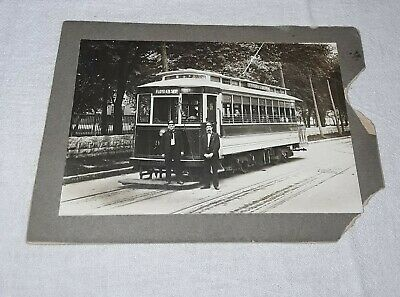 Cabinet Photo Trolley Car With Conductors