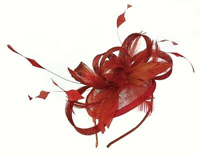 Race Wedding Melbourne Cup Church Feather Fascinator Hatinator Headband Red
