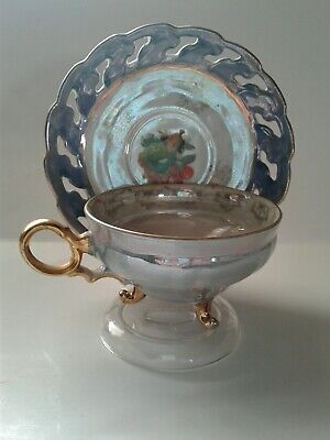 1950s 3 Footed Reticulated Teacup  & Saucer