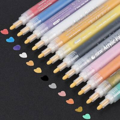 12PCS Acrylic Paint Marker Pens Permanent Art Rock Metal Glass Pebble Waterproof