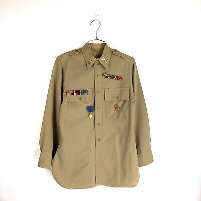 Vintage WWII Wool Shirt Gordon Size Large Lieutenant Medals 40s L US Army Named