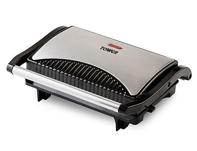 Tower Mini Panini Press Grill with Easy Clean Non-Stick Coated Plates, Automatic