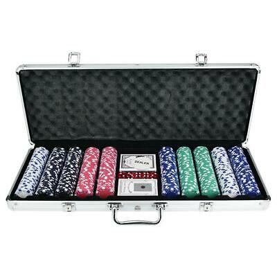 500 Dice Chips Poker Chip Set Texas Hold'em Cards with Black Aluminum Case USA