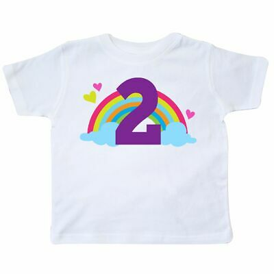 Inktastic 2nd Birthday Rainbow Cute Girls Toddler T-Shirt Second Two Turning Old