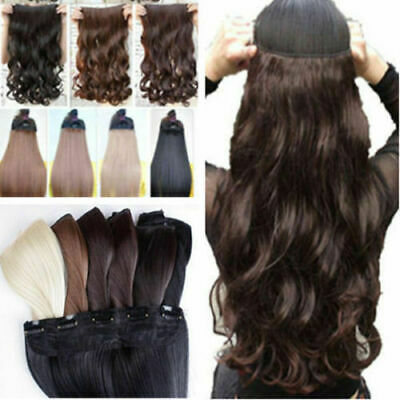 UK As Natural HAIR EXTENTION one piece 5 CLIP IN half FULL HEAD Wavy/straight EG