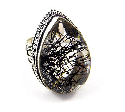Black Needle Rutile Silver Plated Hand Carving Size Fashion Ring  Jewelry JC3183