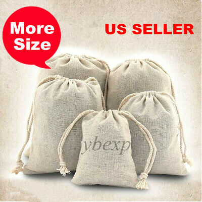 100pcs Resuable Cotton Muslin Drawstring Bags For Craft,Gift,Soap,Herbs,Gift US