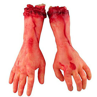 1Pair Bloody Horror Scary Terror Halloween Prop Fake Severed Arm Hand Home Decor