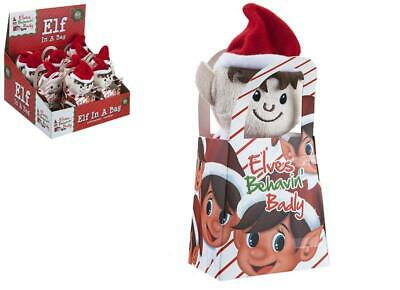 """6"""" Sitting Elf In Gift Bag Props On The Shelf Ideas Toy Christmas Decoration"""
