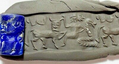 Sassanian lapis cylinder seal amazing intaglio (animal & soldier) 6.6gr 20mm